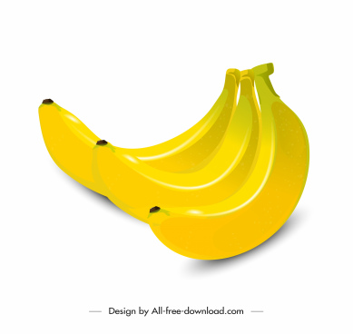 banana fruit icon shiny bright yellow 3d sketch