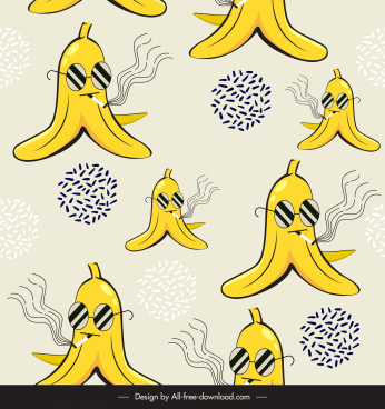 banana pattern template funny stylized sketch classic repeating