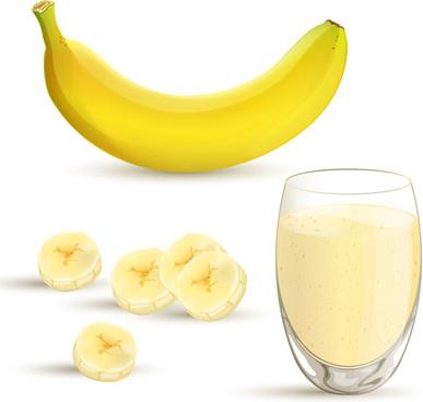 bananas with juice creative vector