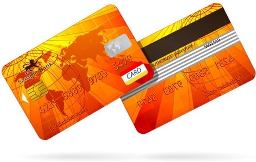 bank card template orange global map decor