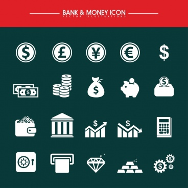 banking design elements various white flat icons isolation