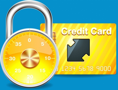 banking design elements yellow credit card lock icons