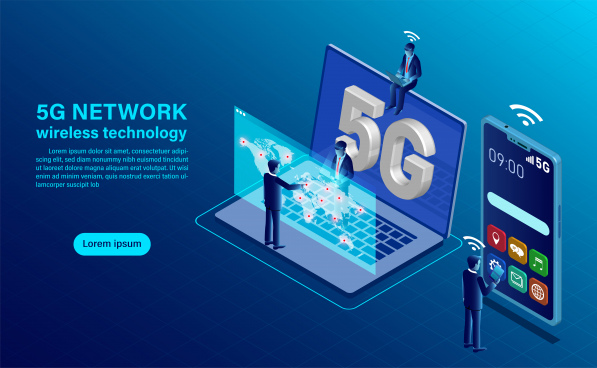 banner 5g network wireless technology concept isometric flat design vector illustration