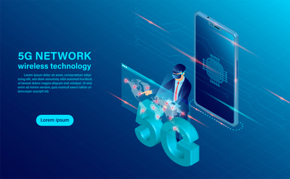 banner 5g network wireless technology concept mobile phone with cpu icon concept for mobile phone technology and telecommunication isometric flat design vector illustration