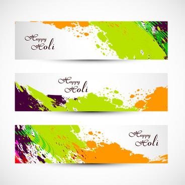 banner and header set grunge holi with colorful colours splash illustration vector