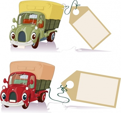banner banner vector cartoon trucks