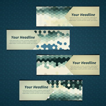 banner design sets with bokeh background