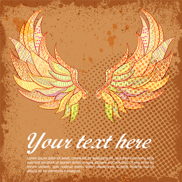 banner design with abstract wings illustration