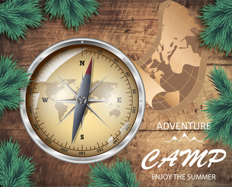 banner design with compass on wooden background
