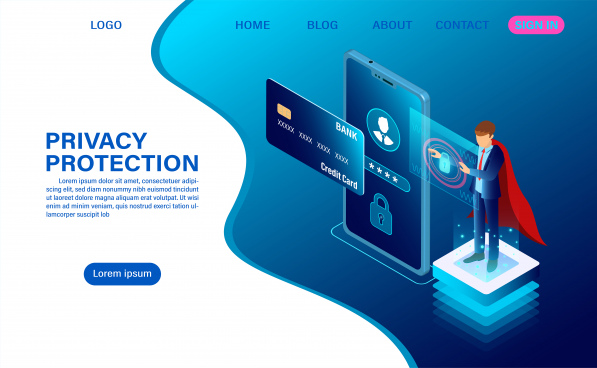 banner protect data and confidentiality on mobile privacy protection and security are confidential web header template flat isometric vector illustration