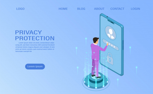 banner protect data and confidentiality on mobile privacy protection and security are confidentiality flat isometric vector illustration