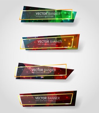 banner sets design with horizontal colorful glassy style