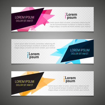 banner sets with abstract modern style background