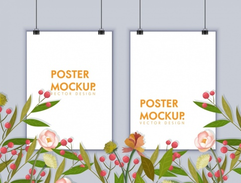 banner template frames mockup flowers decor