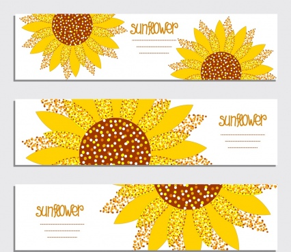 banner template sets sunflower icon