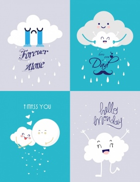 banner templates collection stylized cloud icons decor