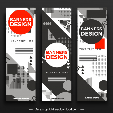 banner templates flat geometric abstract decor