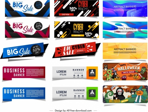 banner templates halloween abstract sales theme modern design