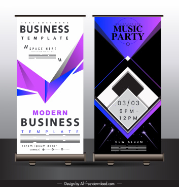 banner templates modern technology decor vertical standee shape