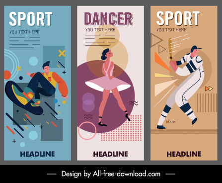 banner templates sport dance theme classic decor