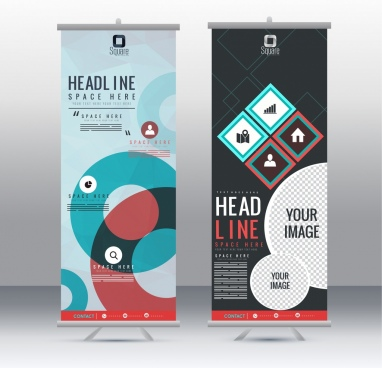 banner templates vertical roll design modern geometric decor