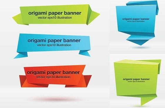 banner vector origami effect