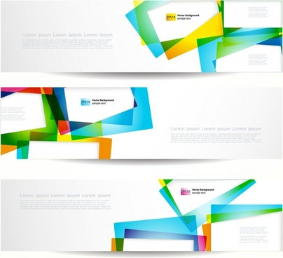 decorative banner templates modern colorful transparent geometry