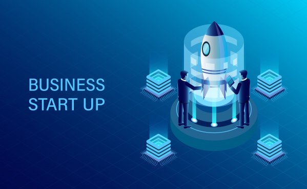 banner with business start up concept business success goal isometric illustration cartoon vector