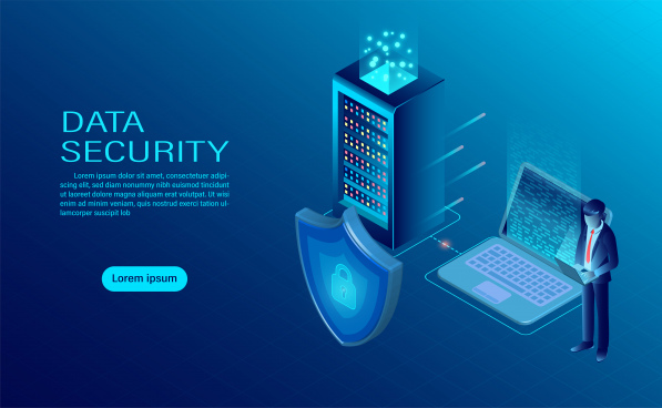 banner with businessman protect data and confidentiality on computer and server data protection and security are confidential flat isometric vector illustration