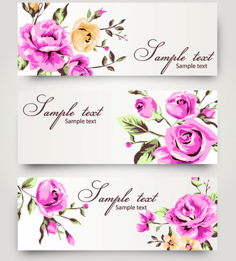 banner with flowers design vector