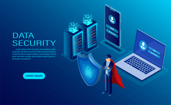 banner with hero protect data and confidentiality on computer and mobile data protection and security are confidential flat isometric vector illustration