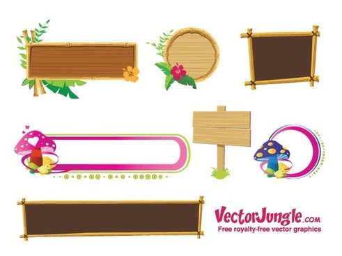 banners frames sets design with natural materials