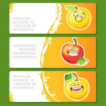 banners cartoon apple vector