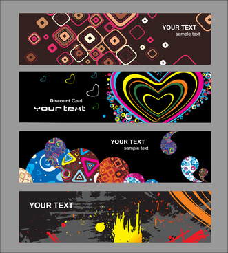 banners collection heart abstract grunge easter