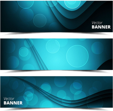 banners sets design on contrasted bokeh background