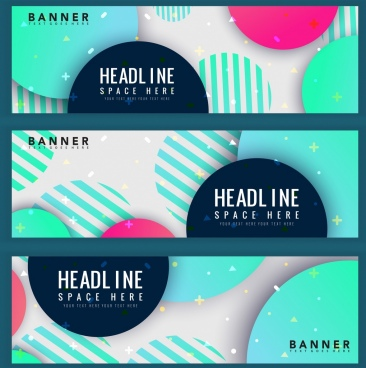 banners sets modern design geometric circles decoration
