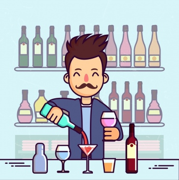 bar background bartender wine glass bottle icons