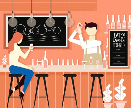 bar background classical colored cartoon design
