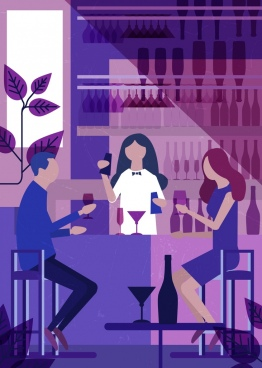 bar background violet design guest waitress icons
