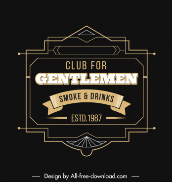 bar club logo template dark classic flat symmetry