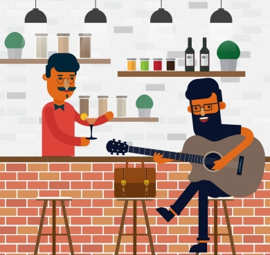 bar drawing bartender guitarist guest icons colored cartoon