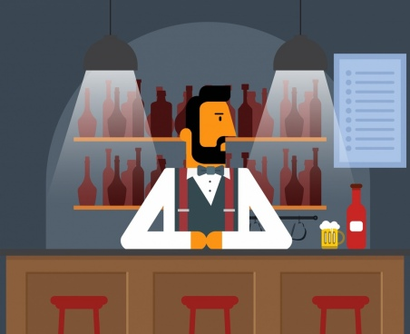 bar drawing bartender lights icons cartoon design
