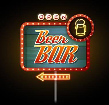 bar neon boards vectors