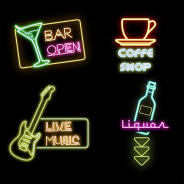 bar with coffee house and music sign vector