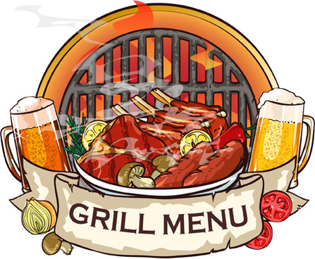 barbecue menu label creative vector