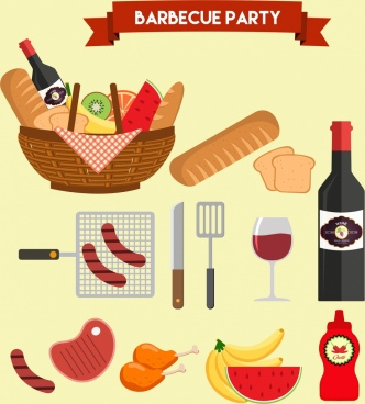 barbecue party design elements food basket wine icons