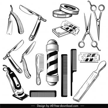 barber shop design elements black white classic sketch