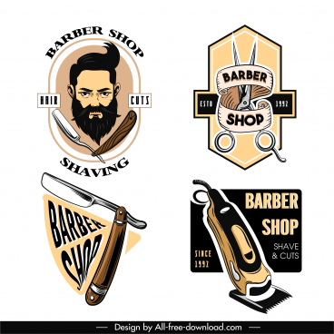 barber shop logo template classical design tools sketch