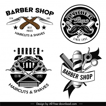 barber shop logo templates classical tools elements decor