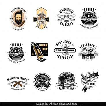 barber shop logo templates vintage design tools sketch